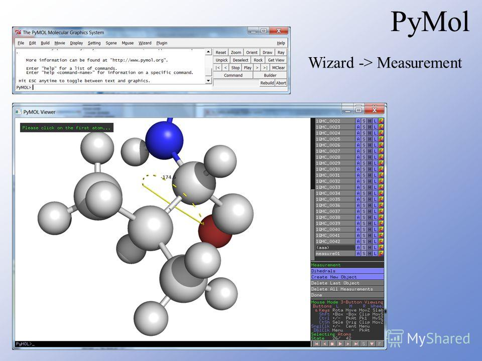PyMol Wizard -> Measurement