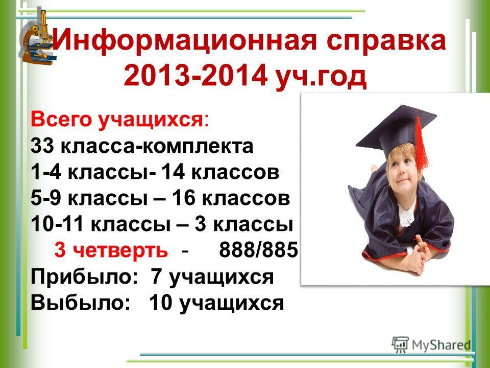 Информационная справка 2013-2014 уч.год Всего учащихся: 33 класса-комплекта 1-4 классы- 14 классов 5-9 классы – 16 классов 10-11 классы – 3 классы 3 четверть - 888/885 Прибыло: 7 учащихся Выбыло: 10 учащихся