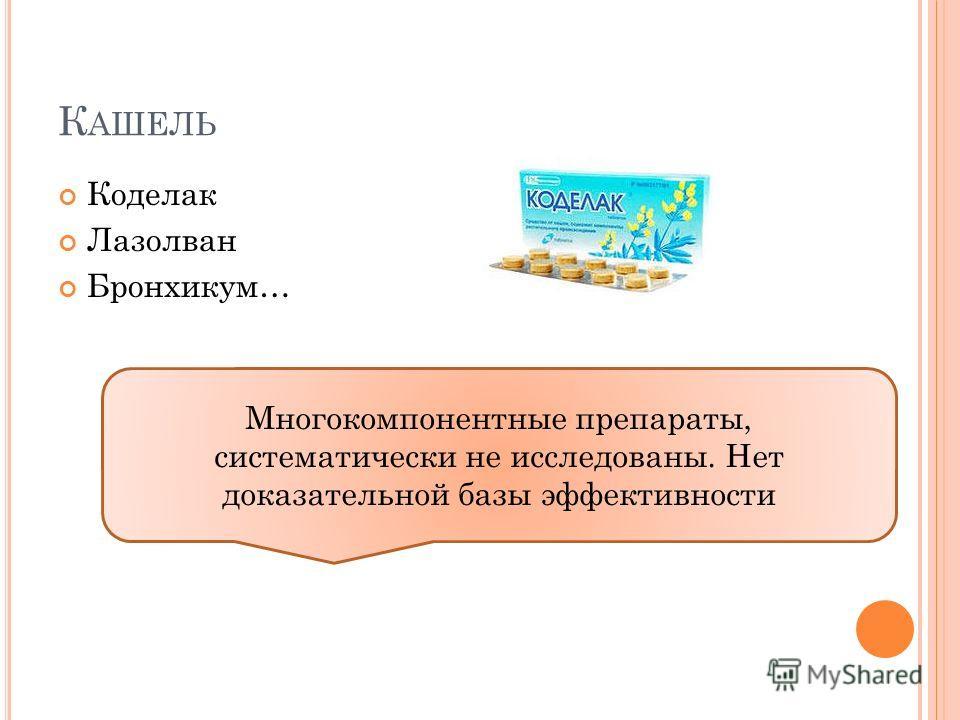 К АШЕЛЬ Коделак Лазолван Бронхикум… Многокомпонентные препараты, систематически не исследованы. Нет доказательной базы эффективности