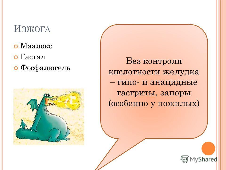 И ЗЖОГА Маалокс Гастал Фосфалюгель Без контроля кислотности желудка – гипо- и анацидные гастриты, запоры (особенно у пожилых)