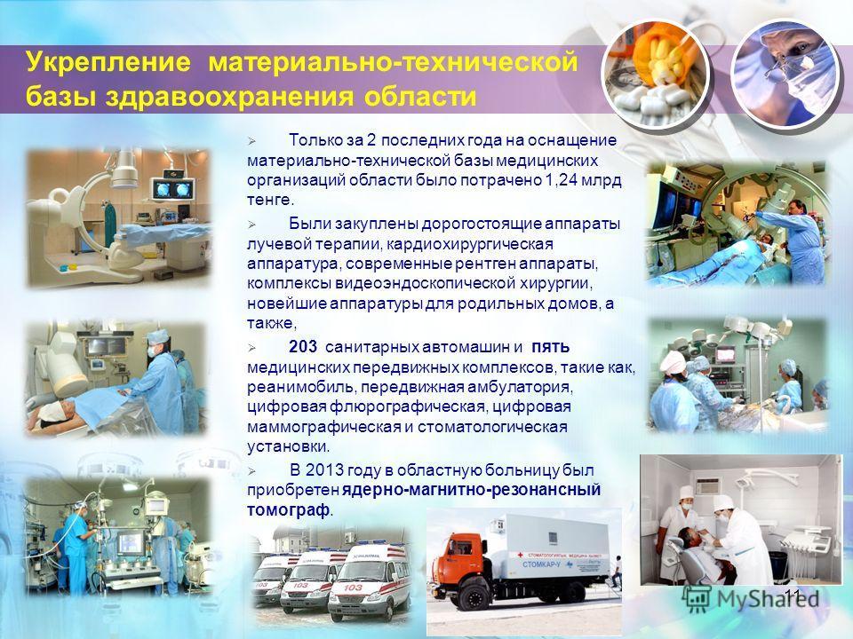 Укрепление материально-технической базы здравоохранения области 11 Только за 2 последних года на оснащение материально-технической базы медицинских организаций области было потрачено 1,24 млрд тенге. Были закуплены дорогостоящие аппараты лучевой тера