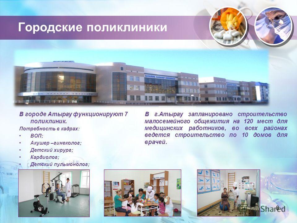 Городские поликлиники 8 В городе Атырау функционируют 7 поликлиник. Потребность в кадрах: ВОП; Акушер –гинеколог; Детский хирург; Кардиолог; Детский пульмонолог; Детский аллерголог В г.Атырау запланировано строительство малосемейного общежития на 120