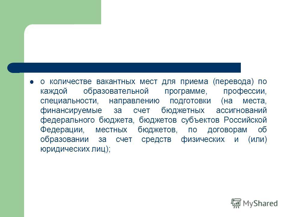 о количестве вакантных мест для приема (перевода) по каждой образовательной программе, профессии, специальности, направлению подготовки (на места, финансируемые за счет бюджетных ассигнований федерального бюджета, бюджетов субъектов Российской Федера