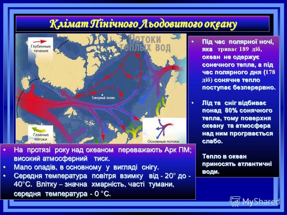 Клімат Пінічного Льодовитого океану Під час полярної ночі, яка океан не одержує сонечного тепла, а під час полярного дня ( сонячне тепло поступає безперервно.Під час полярної ночі, яка триває 189 діб, океан не одержує сонечного тепла, а під час поляр