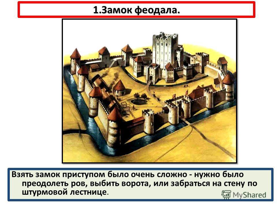 1.Замок феодала. Взять замок приступом было очень сложно - нужно было преодолеть ров, выбить ворота, или забраться на стену по штурмовой лестнице.