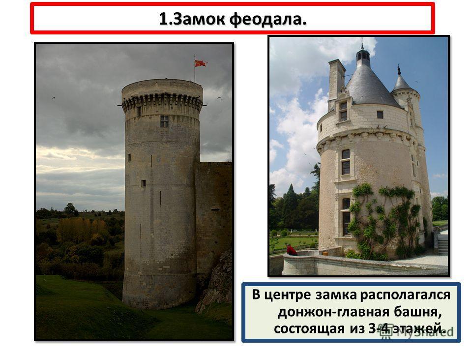 1.Замок феодала. В центре замка располагался донжон-главная башня, состоящая из 3-4 этажей.