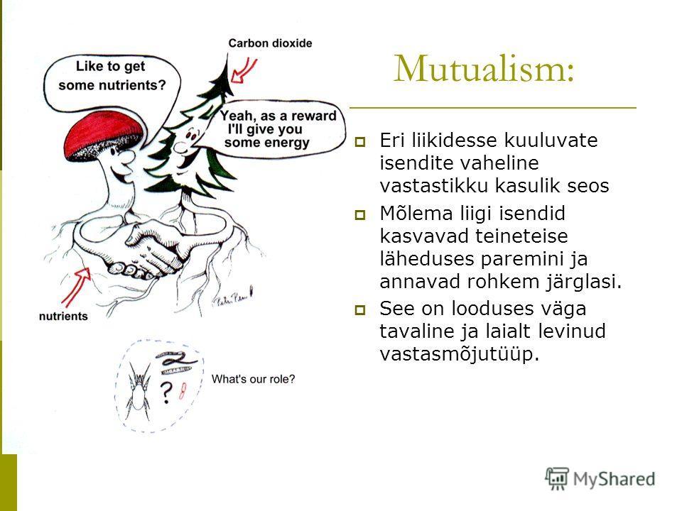Mutualism: Eri liikidesse kuuluvate isendite vaheline vastastikku kasulik seos Mõlema liigi isendid kasvavad teineteise läheduses paremini ja annavad rohkem järglasi. See on looduses väga tavaline ja laialt levinud vastasmõjutüüp.