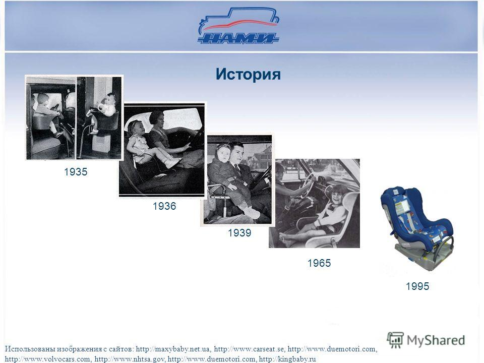 1935 1936 1939 1965 1995 Использованы изображения с сайтов: http://maxybaby.net.ua, http://www.carseat.se, http://www.duemotori.com, http://www.volvocars.com, http://www.nhtsa.gov, http://www.duemotori.com, http://kingbaby.ru История