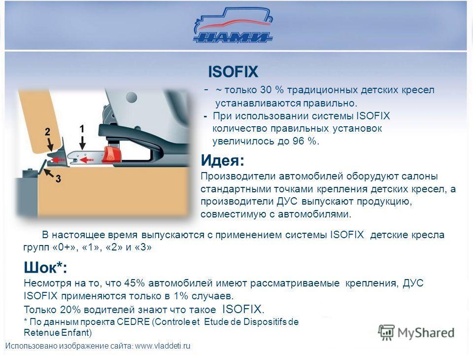 ISOFIX - ~ только 30 % традиционных детских кресел устанавливаются правильно. - При использовании системы ISOFIX количество правильных установок увеличилось до 96 %. Идея: Производители автомобилей оборудуют салоны стандартными точками крепления детс