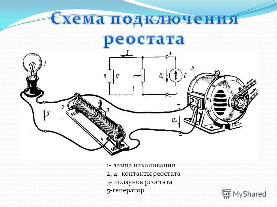 1- лампа накаливания 2, 4- контакты реостата 3- ползунок реостата 5-генератор