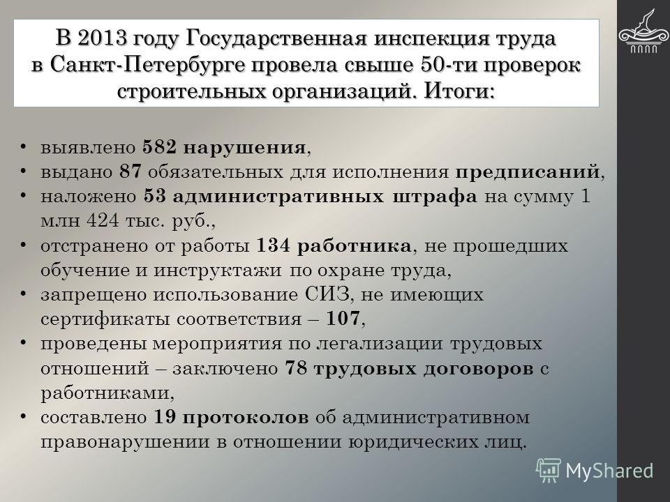 В 2013 году Государственная инспекция труда в Санкт-Петербурге провела свыше 50-ти проверок строительных организаций. Итоги: выявлено 582 нарушения, выдано 87 обязательных для исполнения предписаний, наложено 53 административных штрафа на сумму 1 млн
