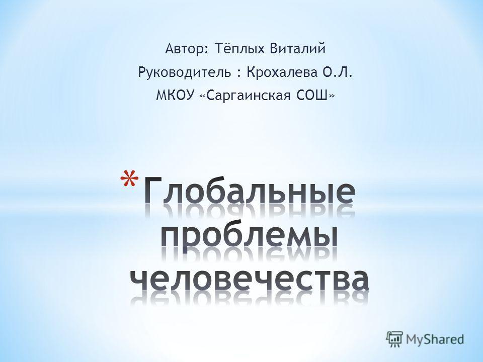 Автор: Тёплых Виталий Руководитель : Крохалева О.Л. МКОУ «Саргаинская СОШ»