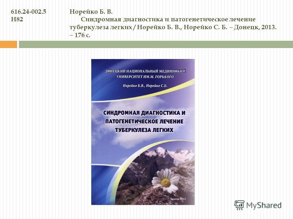 616.24-002.5Норейко Б. В. Н82 Синдромная диагностика и патогенетическое лечение туберкулеза легких / Норейко Б. В., Норейко С. Б. Донецк, 2013. 176 с.