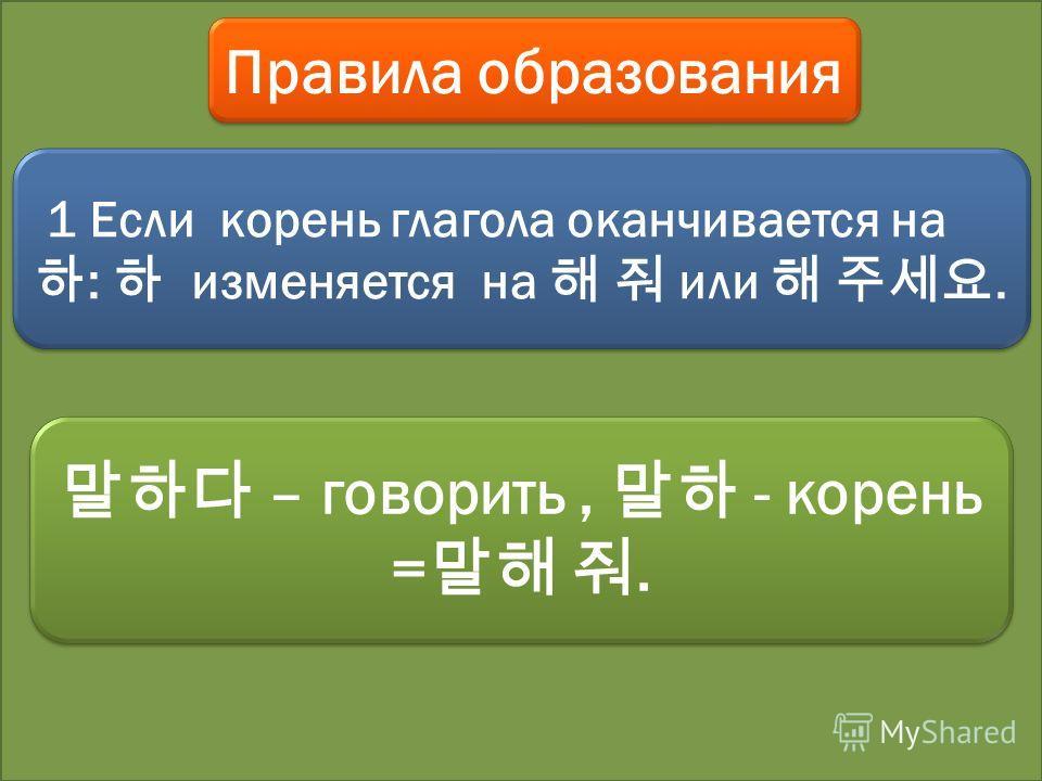 Правила образования 1 Если корень глагола оканчивается на : изменяется на или. – говорить, - корень =. – говорить, - корень =.