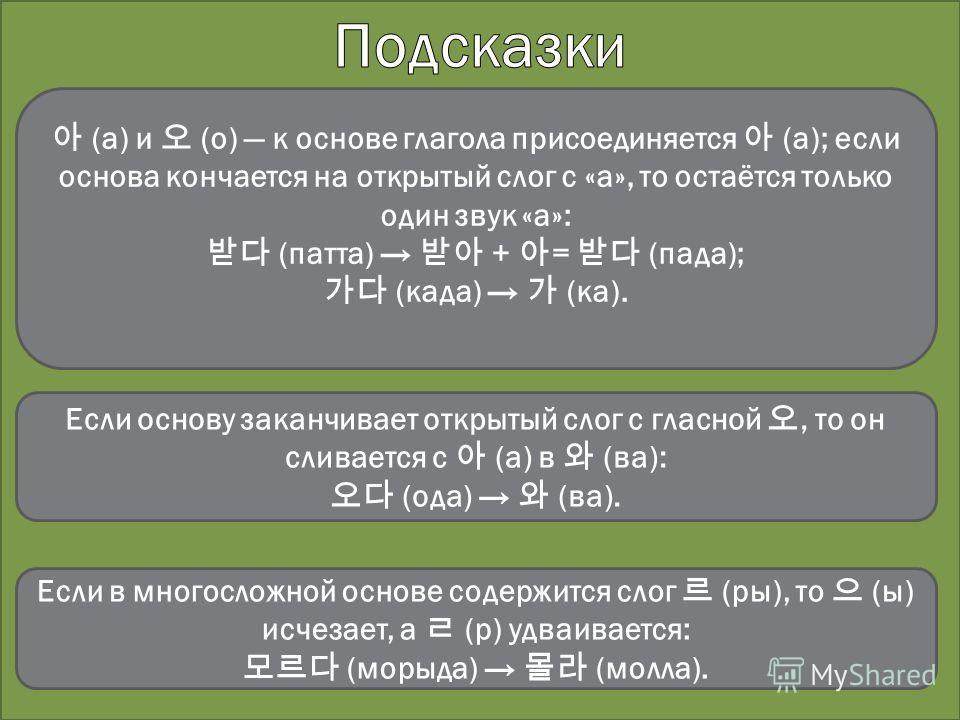 (а) и (о) к основе глагола присоединяется (а); если основа кончается на открытый слог с «а», то остаётся только один звук «а»: (патта) + = (пада); (када) (ка). Если основу заканчивает открытый слог с гласной, то он сливается с (а) в (ва): (ода) (ва).