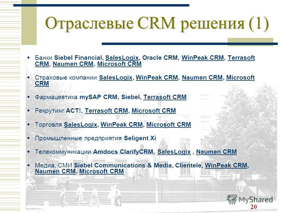 20 Отраслевые CRM решения (1) Банки Siebel Financial, SalesLogix, Oracle CRM, WinPeak CRM, Terrasoft CRM, Naumen CRM, Microsoft CRMSalesLogixWinPeak CRMTerrasoft CRMNaumen CRMMicrosoft CRM Страховые компании SalesLogix, WinPeak CRM, Naumen CRM, Micro