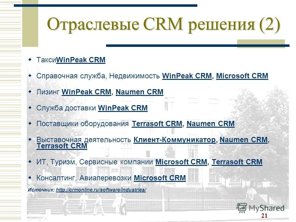 21 Отраслевые CRM решения (2) ТаксиWinPeak CRMWinPeak CRM Справочная служба, Недвижимость WinPeak CRM, Microsoft CRMWinPeak CRMMicrosoft CRM Лизинг WinPeak CRM, Naumen CRMWinPeak CRMNaumen CRM Служба доставки WinPeak CRMWinPeak CRM Поставщики оборудо