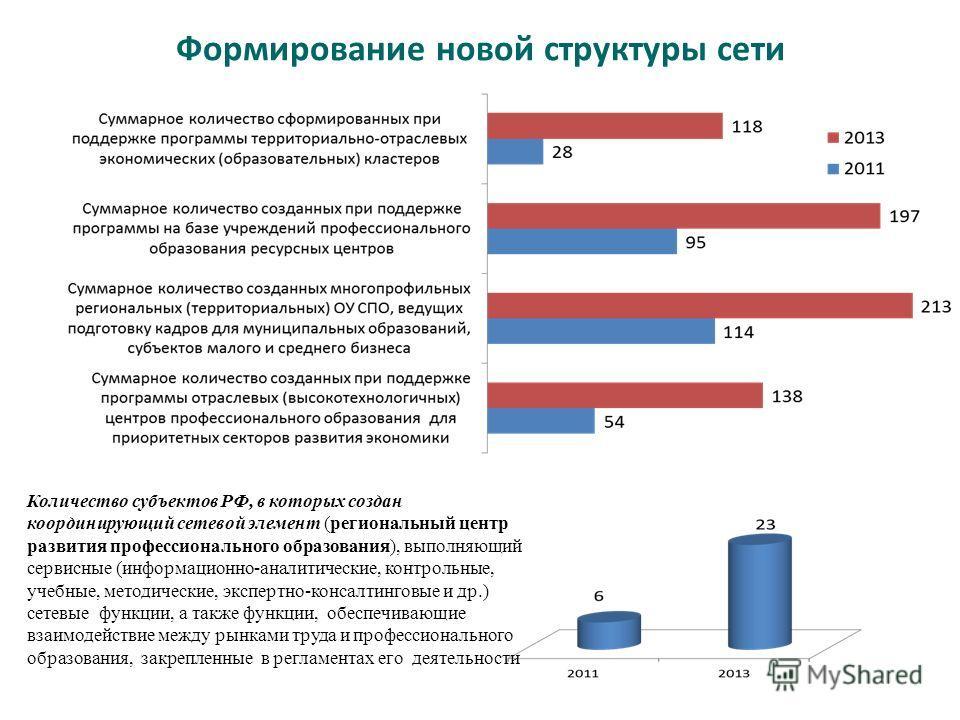 Формирование новой структуры сети Количество субъектов РФ, в которых создан координирующий сетевой элемент (региональный центр развития профессионального образования), выполняющий сервисные (информационно-аналитические, контрольные, учебные, методиче