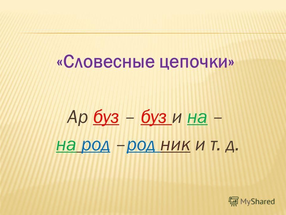 «Словесные цепочки» Ар буз – буз и на – на род –род ник и т. д.