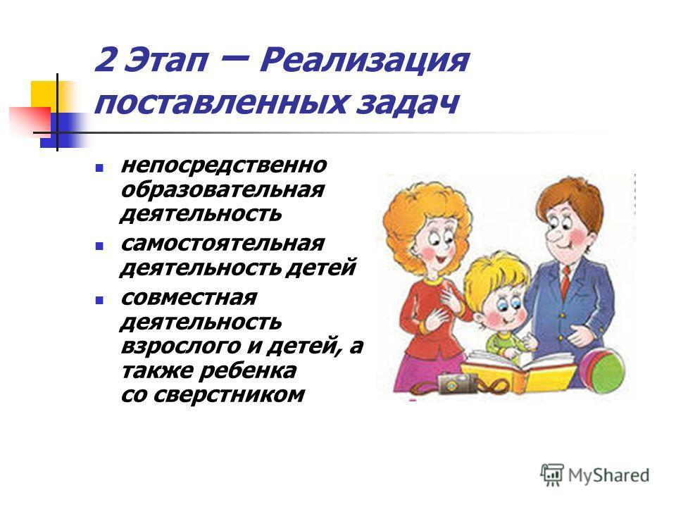 2 Этап – Реализация поставленных задач непосредственно образовательная деятельность самостоятельная деятельность детей совместная деятельность взрослого и детей, а также ребенка со сверстником