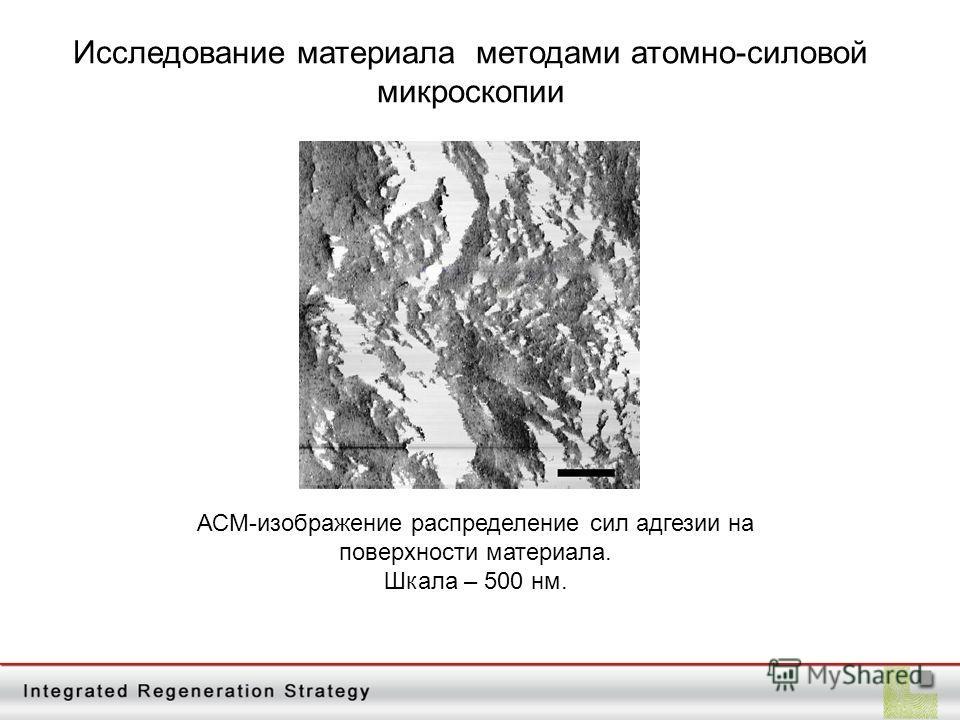 АСМ-изображение распределение сил адгезии на поверхности материала. Шкала – 500 нм.