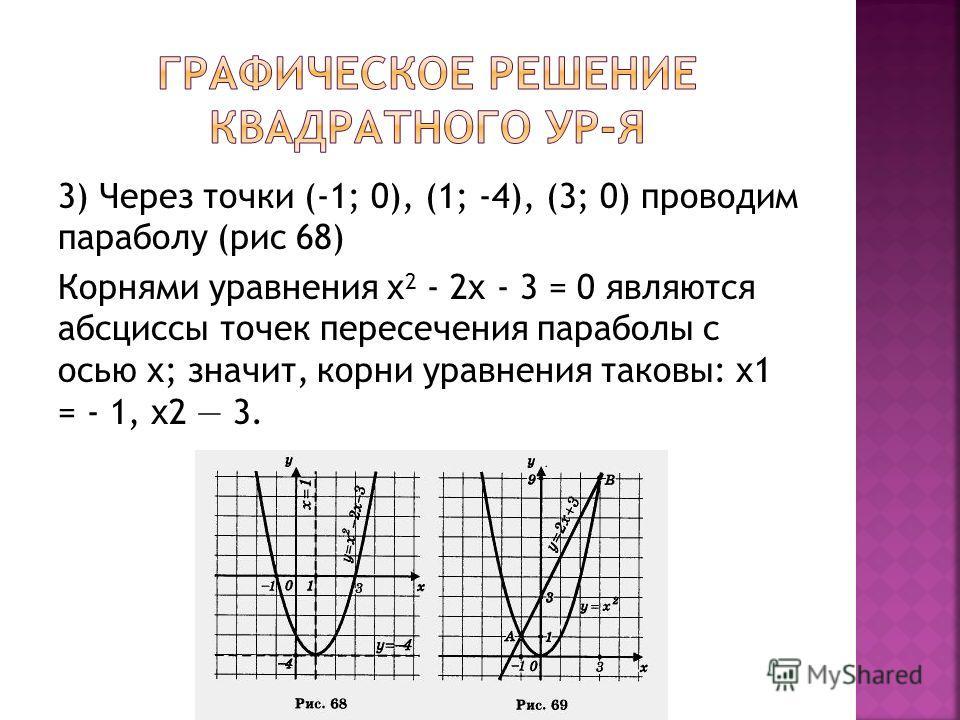 3) Через точки (-1; 0), (1; -4), (3; 0) проводим параболу (рис 68) Корнями уравнения х 2 - 2х - 3 = 0 являются абсциссы точек пересечения параболы с осью х; значит, корни уравнения таковы: х1 = - 1, х2 3.