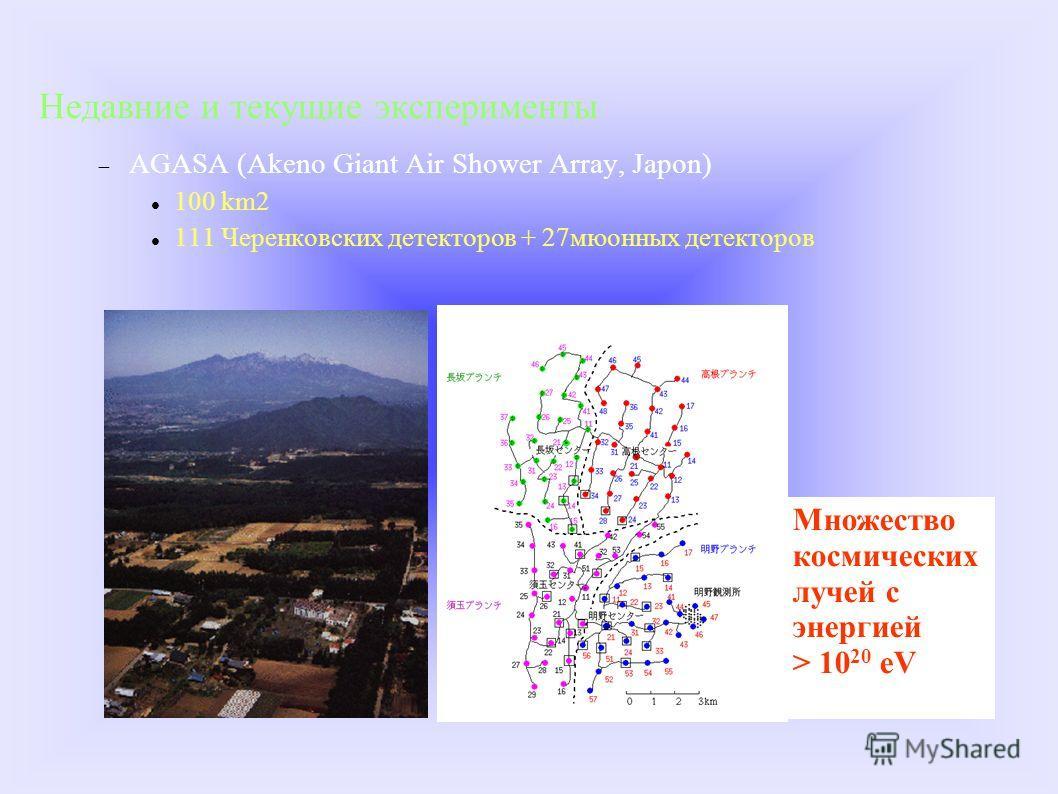 Множество космических лучей с энергией > 10 20 eV Недавние и текущие эксперименты AGASA (Akeno Giant Air Shower Array, Japon) 100 km2 111 Черенковских детекторов + 27мюонных детекторов