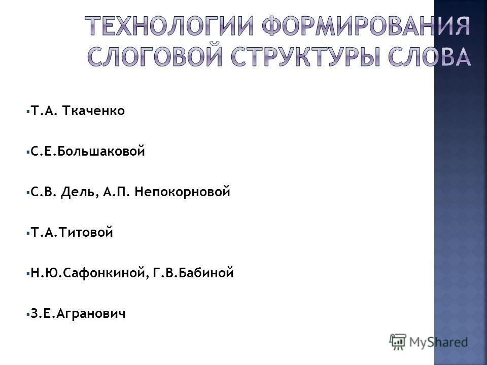 Т.А. Ткаченко С.Е.Большаковой С.В. Дель, А.П. Непокорновой Т.А.Титовой Н.Ю.Сафонкиной, Г.В.Бабиной З.Е.Агранович