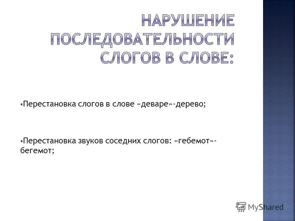 Перестановка слогов в слове «деваре»-дерево; Перестановка звуков соседних слогов: «гебемот»- бегемот;