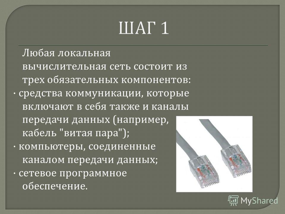 ШАГ 1 Любая локальная вычислительная сеть состоит из трех обязательных компонентов : · средства коммуникации, которые включают в себя также и каналы передачи данных ( например, кабель