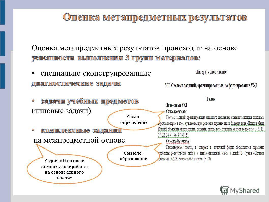 Само- определение Смысло- образование Серия «Итоговые комплексные работы на основе единого текста»