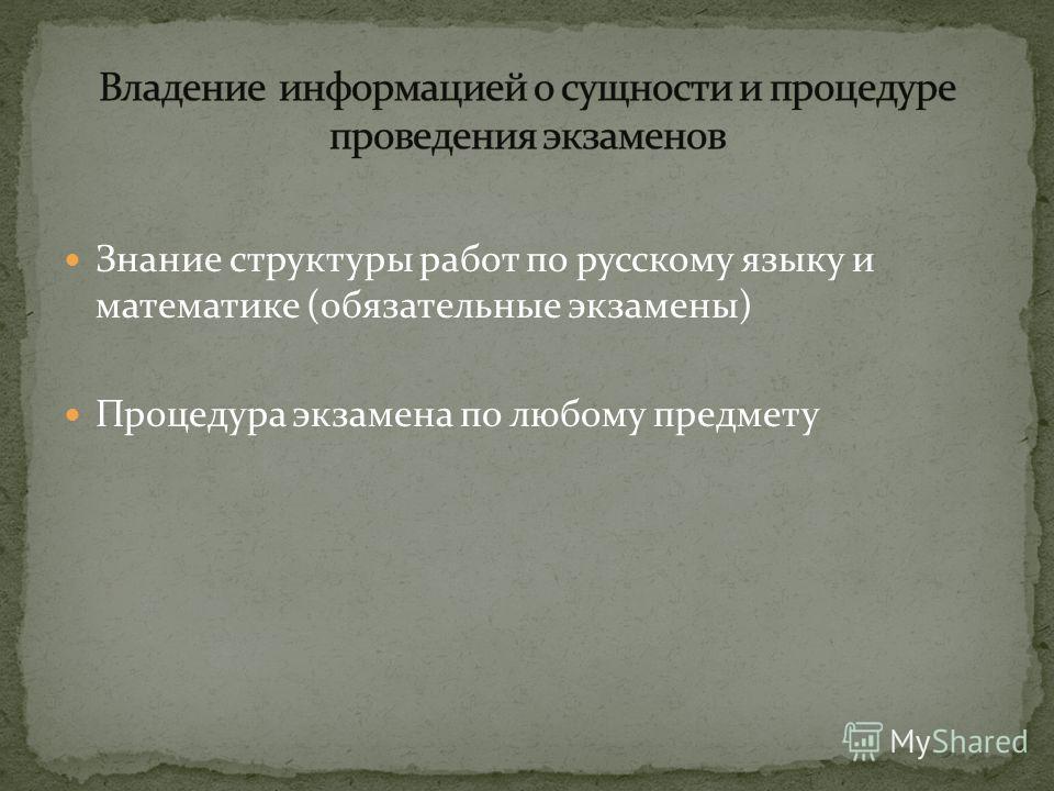 Знание структуры работ по русскому языку и математике (обязательные экзамены) Процедура экзамена по любому предмету