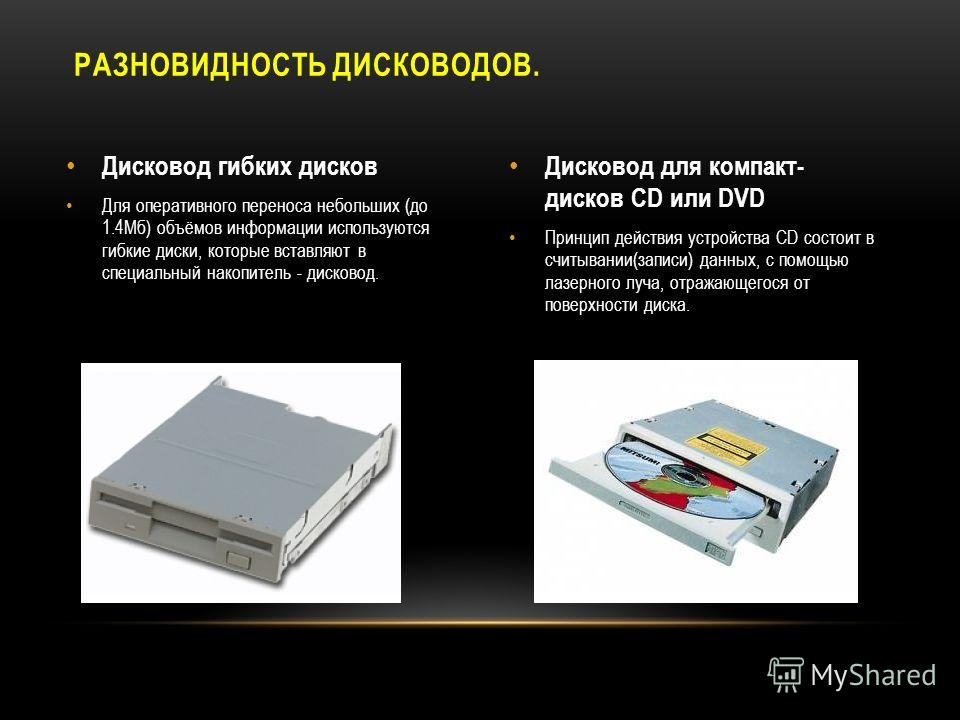 Дисковод гибких дисков Для оперативного переноса небольших (до 1.4Мб) объёмов информации используются гибкие диски, которые вставляют в специальный накопитель - дисковод. Дисковод для компакт- дисков CD или DVD Принцип действия устройства CD состоит