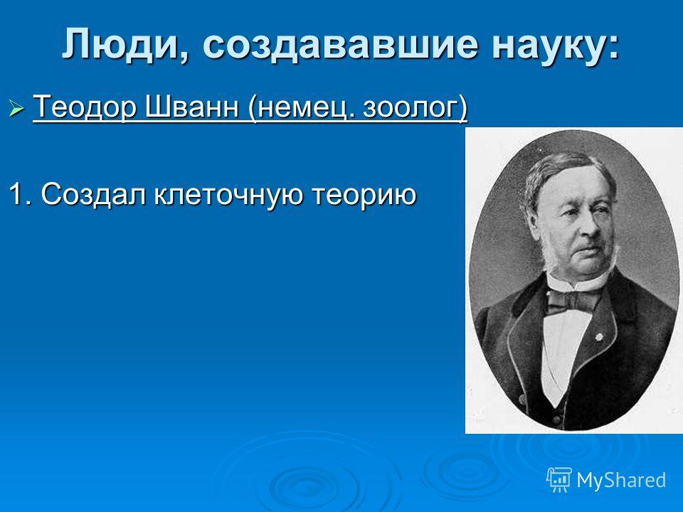 Люди, создававшие науку: Теодор Шванн (немец. зоолог) Теодор Шванн (немец. зоолог) 1. Создал клеточную теорию