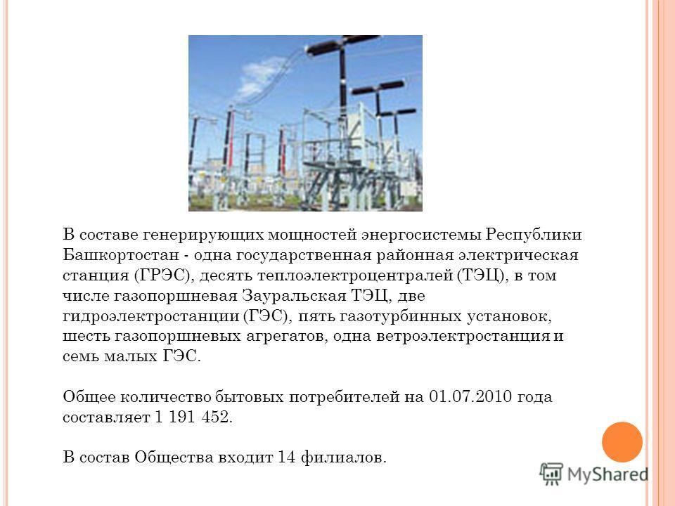 В составе генерирующих мощностей энергосистемы Республики Башкортостан - одна государственная районная электрическая станция (ГРЭС), десять теплоэлектроцентралей (ТЭЦ), в том числе газопоршневая Зауральская ТЭЦ, две гидроэлектростанции (ГЭС), пять га