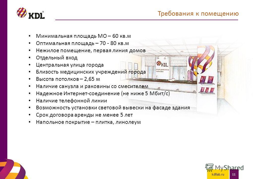 kdllab.ru11 Требования к помещению Минимальная площадь МО – 60 кв.м Оптимальная площадь – 70 - 80 кв.м Нежилое помещение, первая линия домов Отдельный вход Центральная улица города Близость медицинских учреждений города Высота потолков – 2,65 м Налич