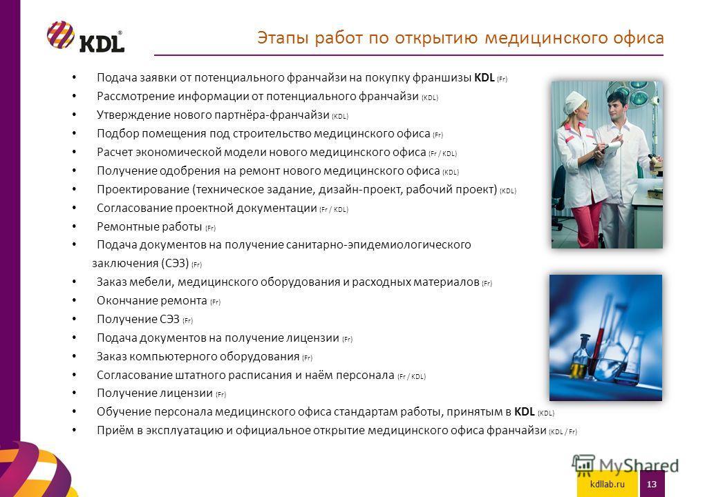 kdllab.ru13 Этапы работ по открытию медицинского офиса Подача заявки от потенциального франчайзи на покупку франшизы KDL (Fr) Рассмотрение информации от потенциального франчайзи (KDL) Утверждение нового партнёра-франчайзи (KDL) Подбор помещения под с