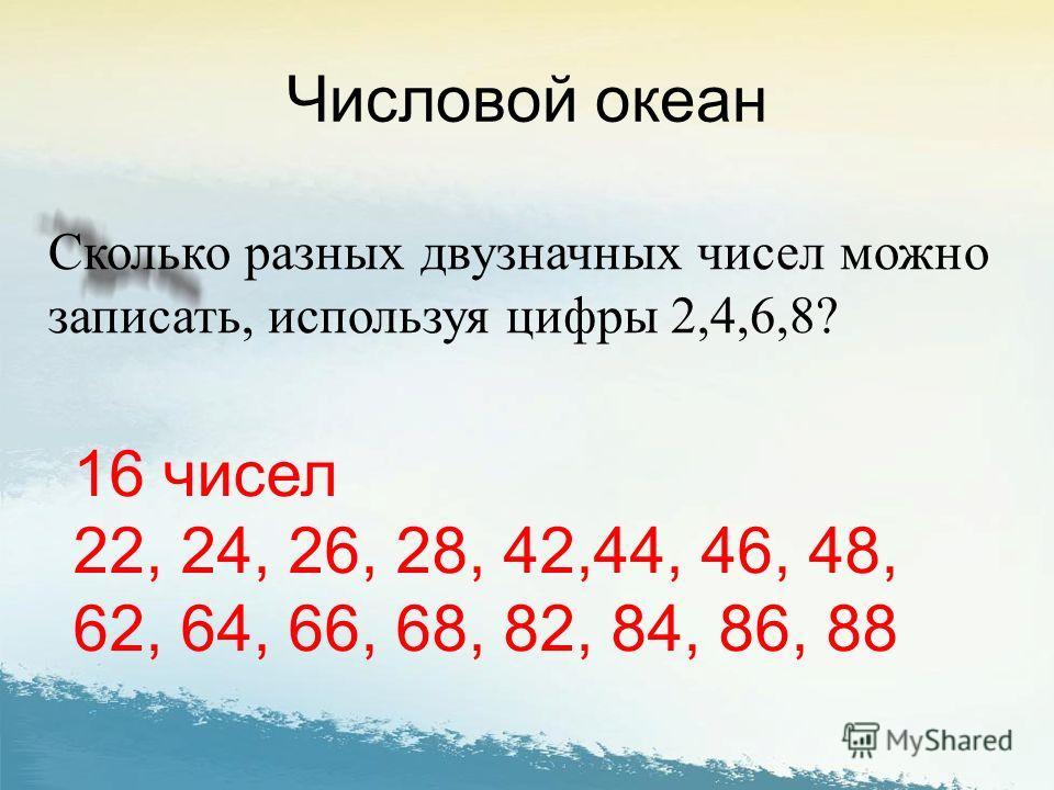 Числовой океан Сколько разных двузначных чисел можно записать, используя цифры 2,4,6,8? 16 чисел 22, 24, 26, 28, 42,44, 46, 48, 62, 64, 66, 68, 82, 84, 86, 88