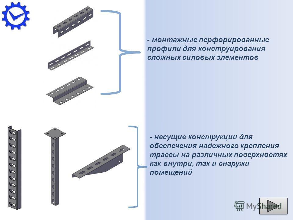 - монтажные перфорированные профили для конструирования сложных силовых элементов - несущие конструкции для обеспечения надежного крепления трассы на различных поверхностях как внутри, так и снаружи помещений