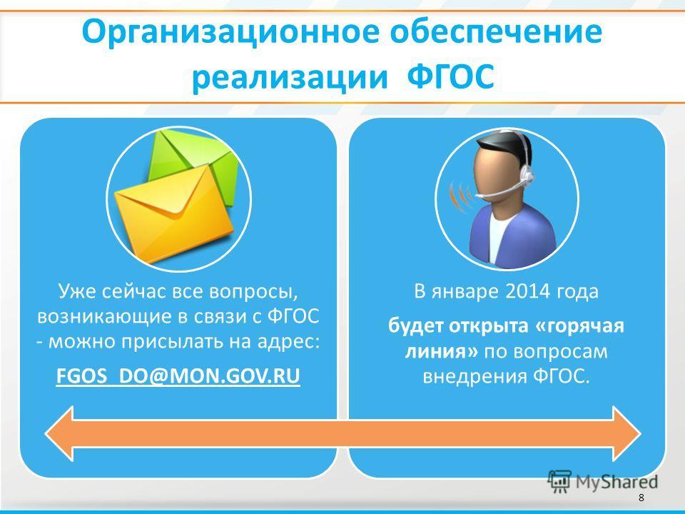 Организационное обеспечение реализации ФГОС 8 Уже сейчас все вопросы, возникающие в связи с ФГОС - можно присылать на адрес: FGOS_DO@MON.GOV.RU В январе 2014 года будет открыта «горячая линия» по вопросам внедрения ФГОС.