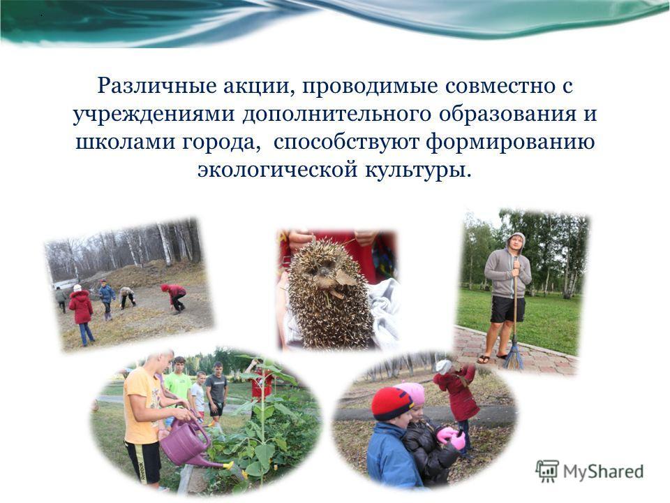 Различные акции, проводимые совместно с учреждениями дополнительного образования и школами города, способствуют формированию экологической культуры..