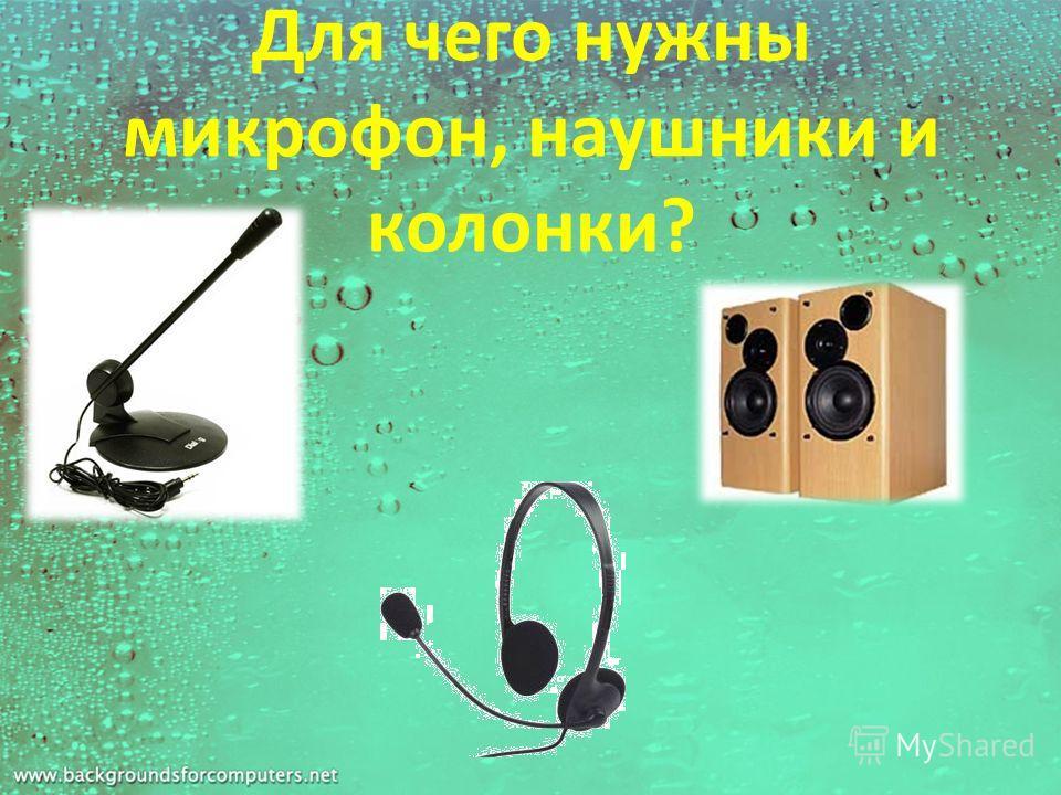Для чего нужны микрофон, наушники и колонки?
