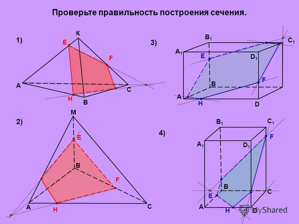 Постройте сечение тетраэдра плоскостью, проходящей через точки А, В, С: M K A B M N C D M N K D B C A Е F