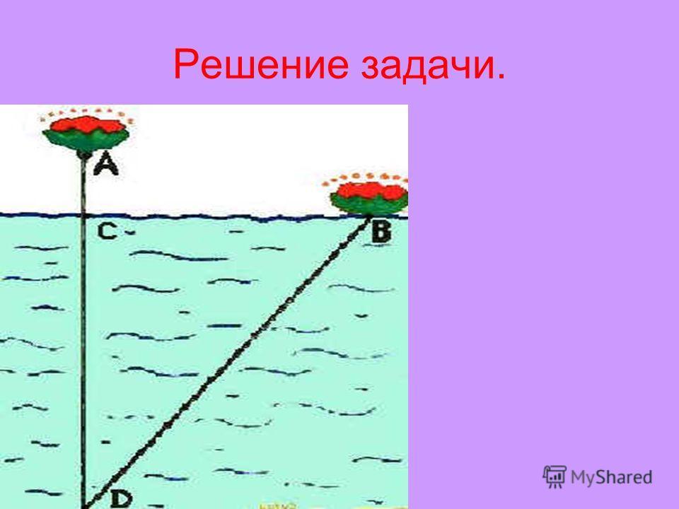Пример 3 Задачи старые, старинные и совсем древние… Древняя индийская задача Над озером тихим, С полметра размером, Высился лотоса цвет. Он рос одиноко. И ветер порывом Отнёс его в сторону. Нет более цветка над водой. Нашел же рыбак его Ранней весной