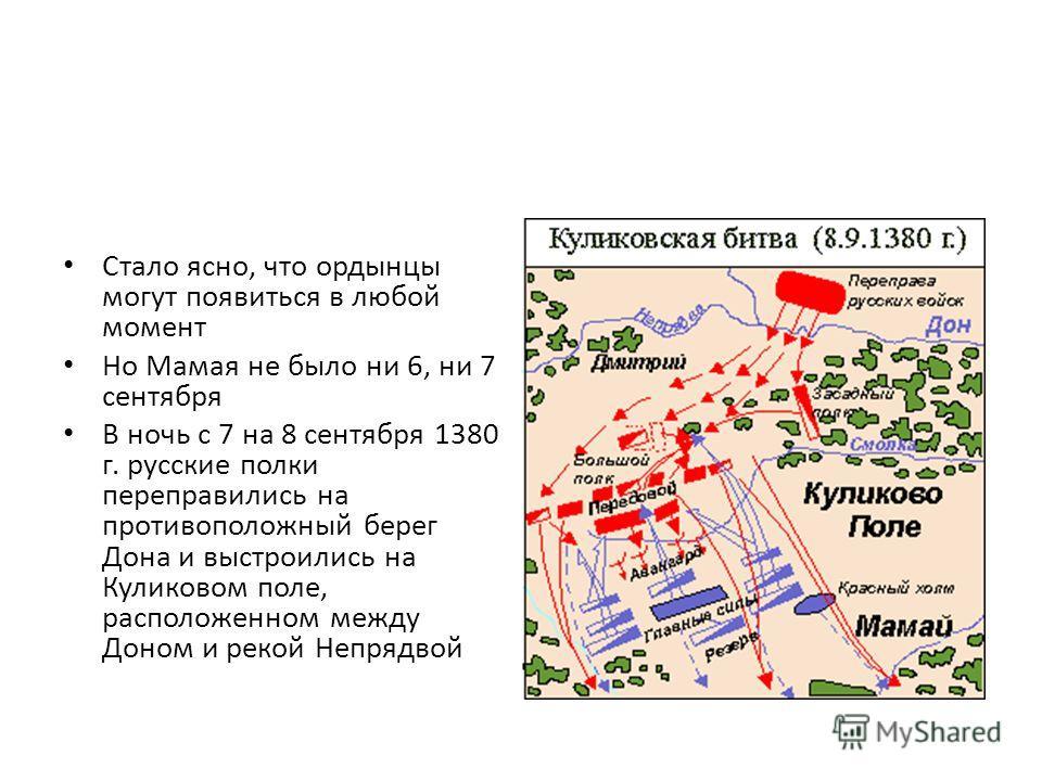Стало ясно, что ордынцы могут появиться в любой момент Но Мамая не было ни 6, ни 7 сентября В ночь с 7 на 8 сентября 1380 г. русские полки переправились на противоположный берег Дона и выстроились на Куликовом поле, расположенном между Доном и рекой