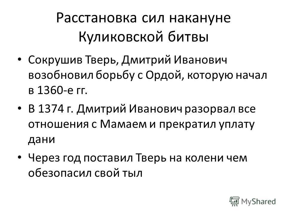 Расстановка сил накануне Куликовской битвы Сокрушив Тверь, Дмитрий Иванович возобновил борьбу с Ордой, которую начал в 1360-е гг. В 1374 г. Дмитрий Иванович разорвал все отношения с Мамаем и прекратил уплату дани Через год поставил Тверь на колени че