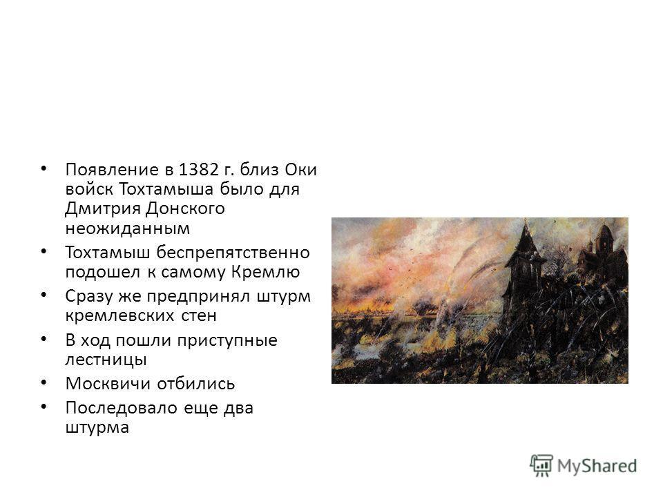 Появление в 1382 г. близ Оки войск Тохтамыша было для Дмитрия Донского неожиданным Тохтамыш беспрепятственно подошел к самому Кремлю Сразу же предпринял штурм кремлевских стен В ход пошли приступные лестницы Москвичи отбились Последовало еще два штур