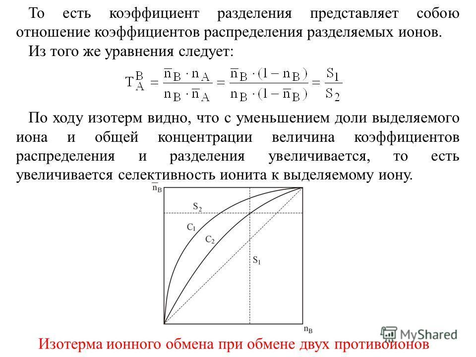 То есть коэффициент разделения представляет собою отношение коэффициентов распределения разделяемых ионов. Из того же уравнения следует: По ходу изотерм видно, что с уменьшением доли выделяемого иона и общей концентрации величина коэффициентов распре