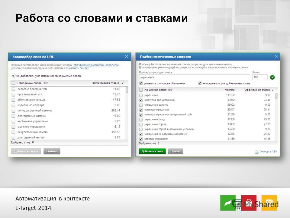 Работа со словами и ставками Автоматизация в контексте E-Target 2014