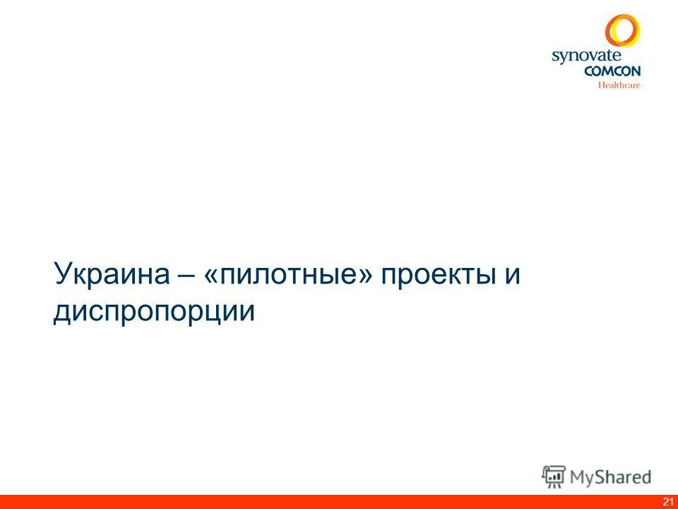 21 Украина – «пилотные» проекты и диспропорции